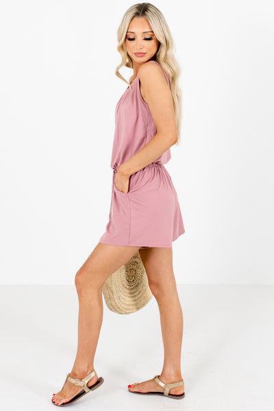 Women's Pink Pleated Accented Boutique Romper