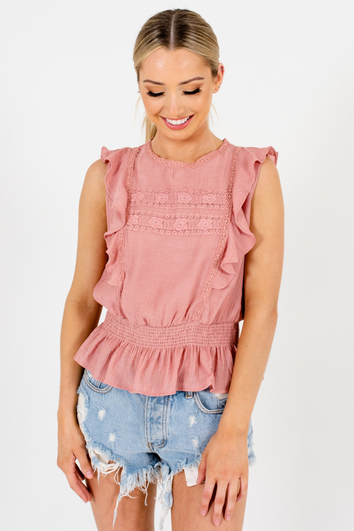 Salmon Pink Ruffle Sleeve Lace Smocked Peplum Tops for Women