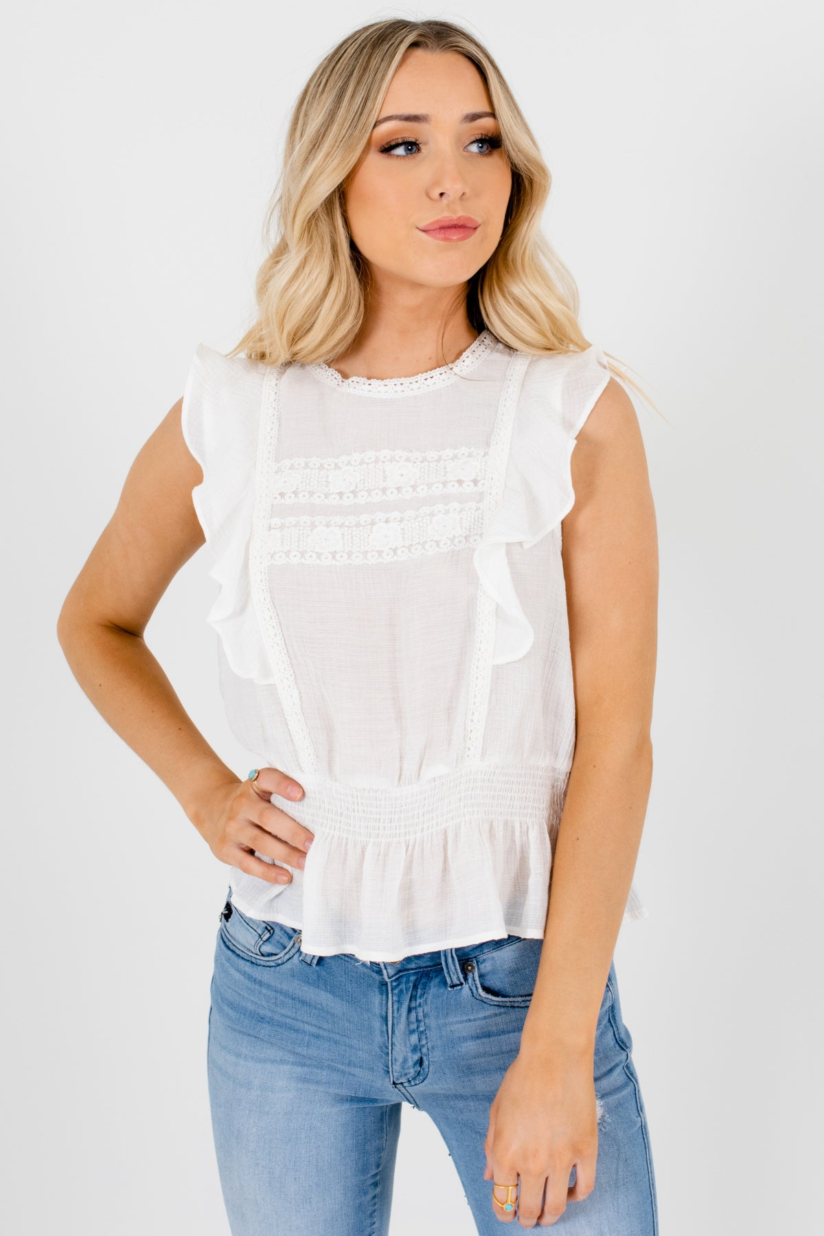 White Ruffle Sleeve Smocked Peplum Lace Tops Affordable Online Boutique