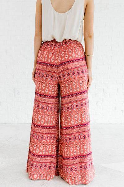 Pink Multicolored Eastern Print Festival Bohemian Flowy Palazzo Pants