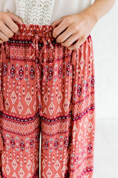 Dark Pink Multi Colored Bohemian Palazzo Pants for Women