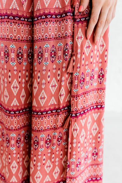 Pink Burgundy Wine Turquoise Boho Boutique Palazzo Pants