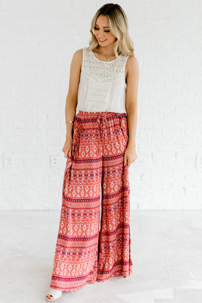 Pink Patterned Flowy Palazzo Pants Bohemian Boutique Festival Fashion