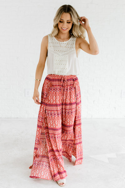 Dark Pink Multicolored Eastern Print Boho Flowy Pants for Women
