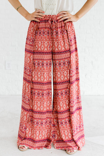 Pink Bohemian Flowy Palazzo Pants with Tassels and Pattern
