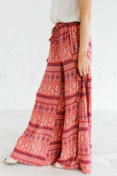 Dark Pink Turquoise Boutique Palazzo Pants with Tassels
