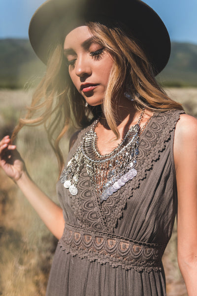 Olive Green Crochet Lace Boutique Maxi Dresses for Women