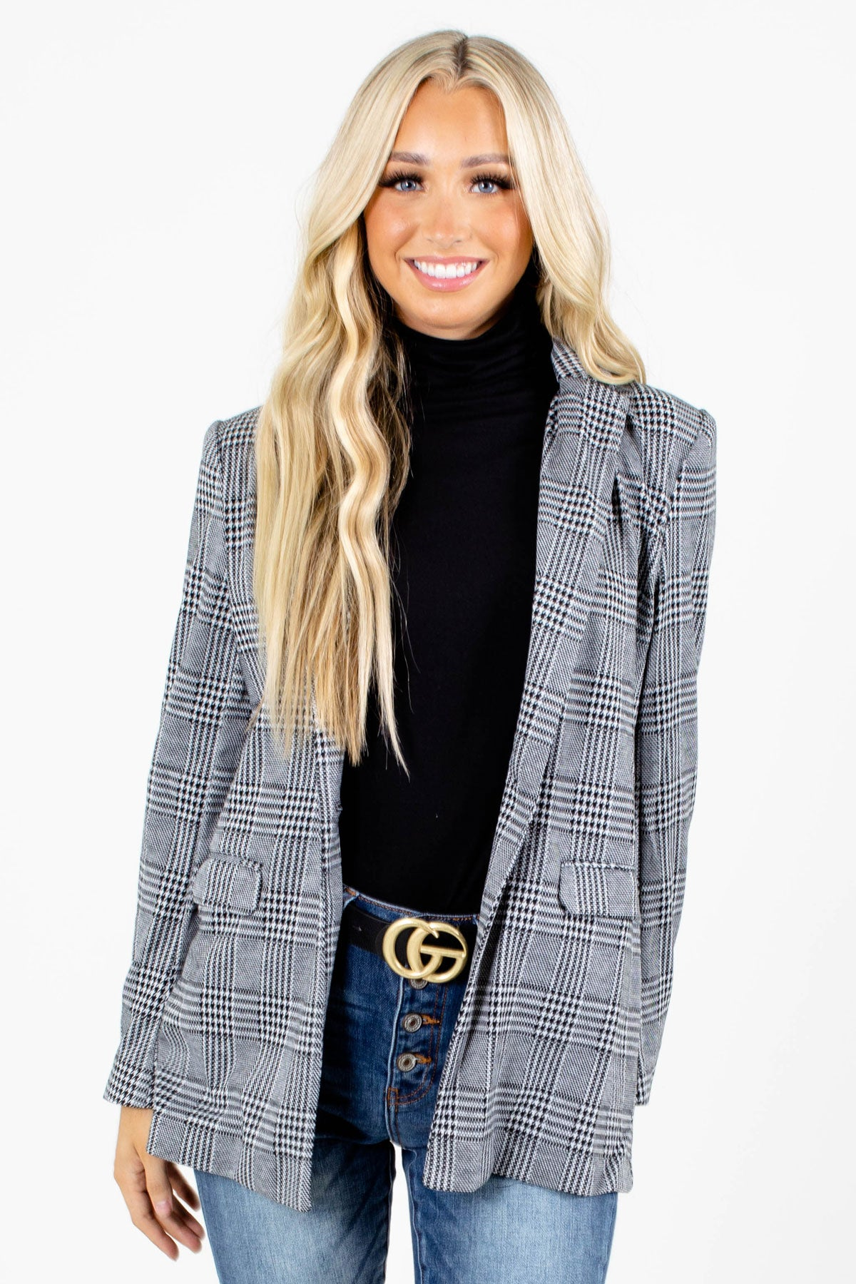 Gray Plaid Patterned Boutique Blazers for Women
