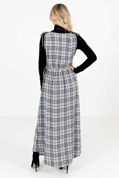 Women's Gray Plaid Wrap Style Bodice Boutique Maxi Dress