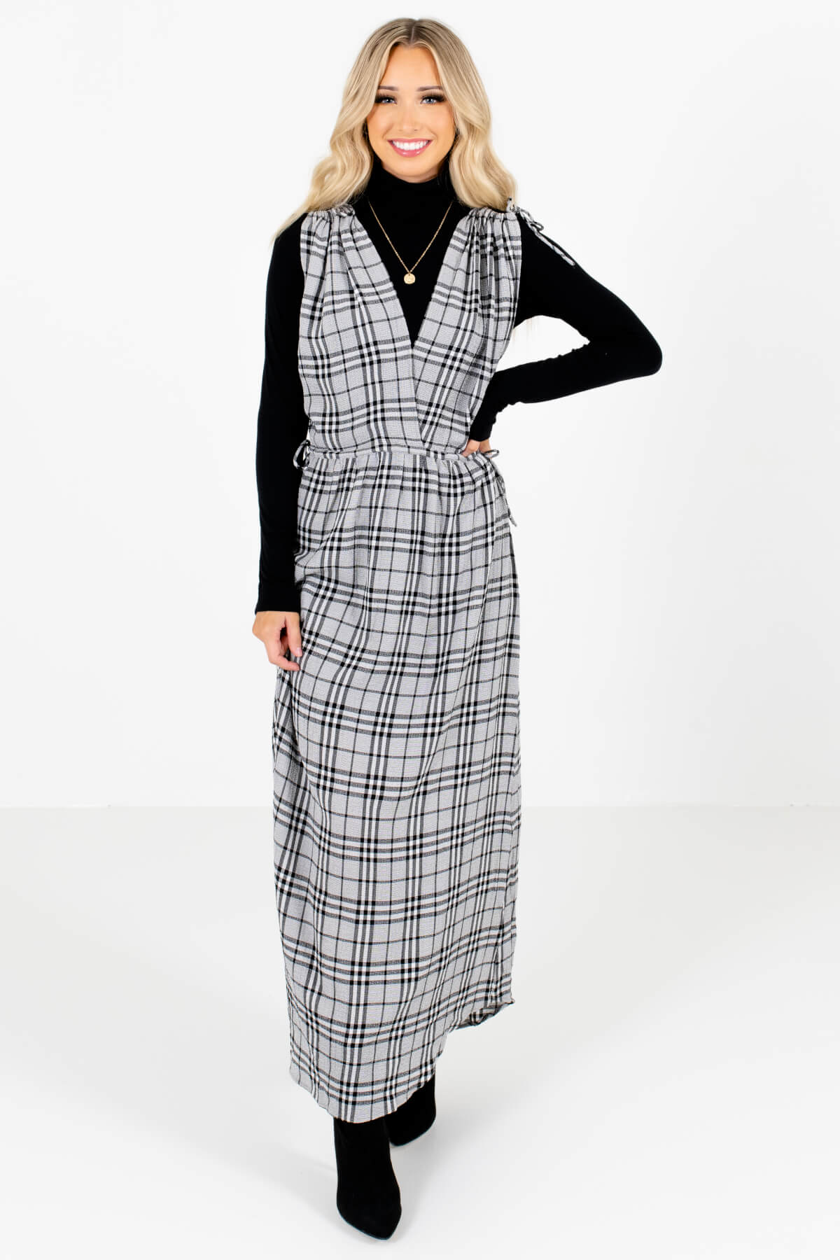 Gray and Black Plaid Patterned Boutique Maxi Dresses for Women