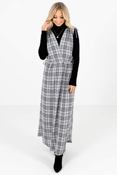Gray Plaid Cute and Comfortable Boutique Maxi Dresses for Women
