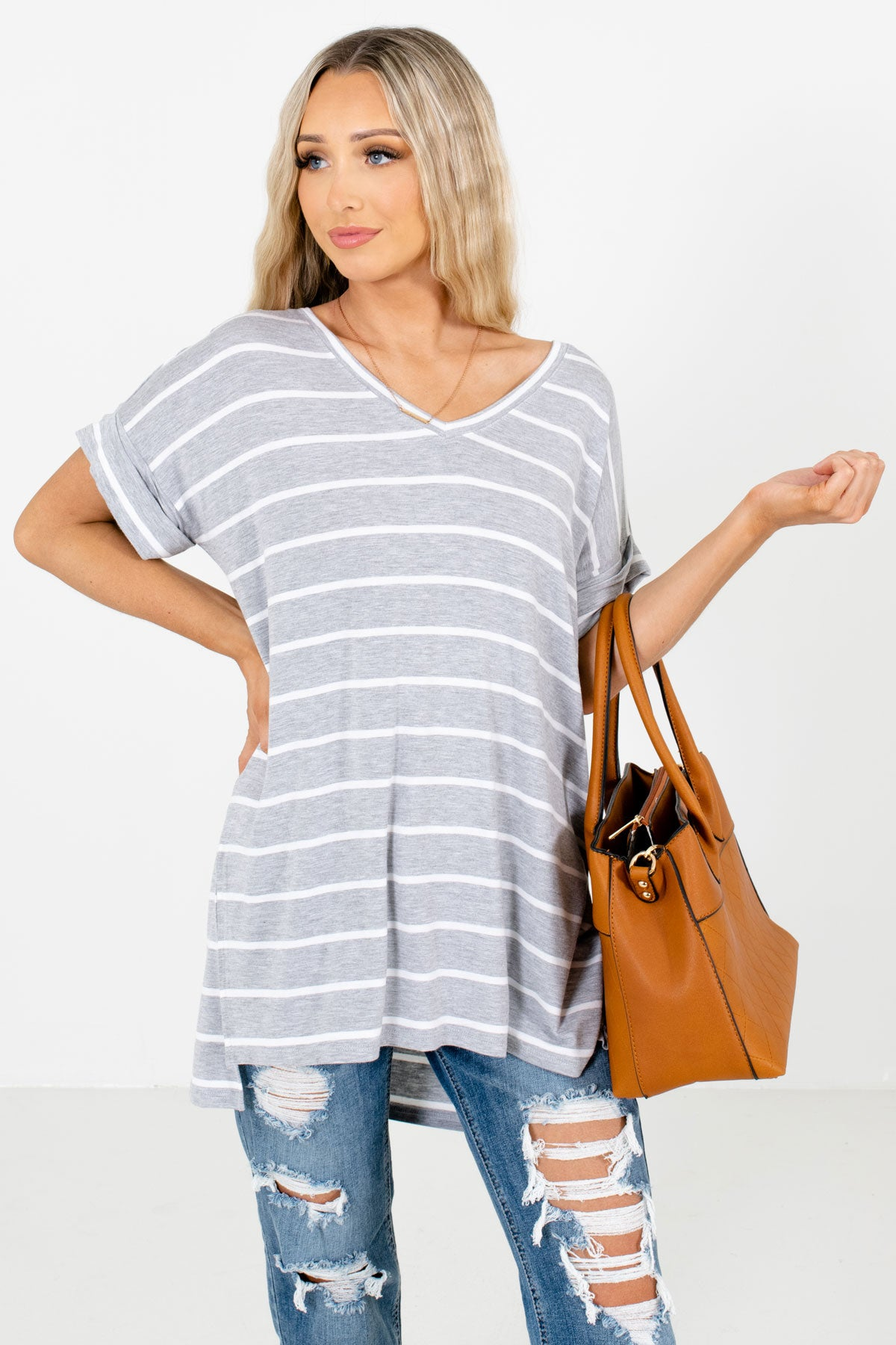 Heather Gray and White Striped Boutique Tops for Women