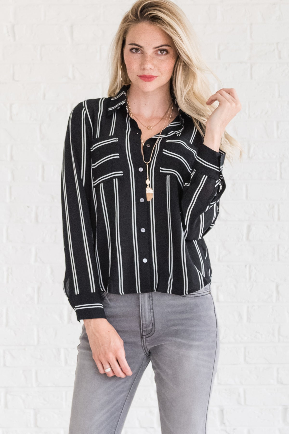 Black Striped Business Casual Clothing for Women