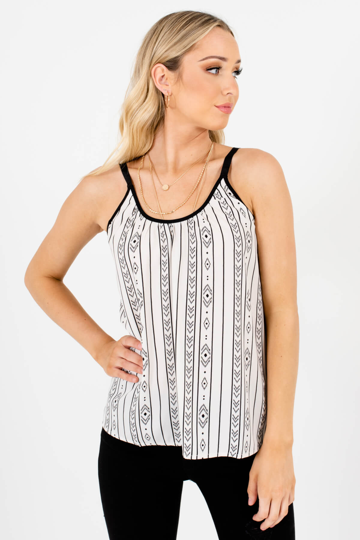 Cream Black Geometric Patterned Boutique Tank Tops for Women