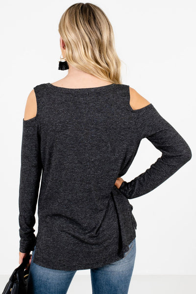Women's Black Lightweight Knit Material Boutique Tops