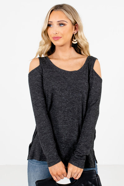 Women's Black Round Neckline Boutique Tops