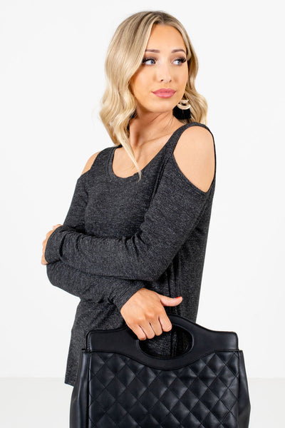 Black Warm and Cozy Boutique Tops for Women
