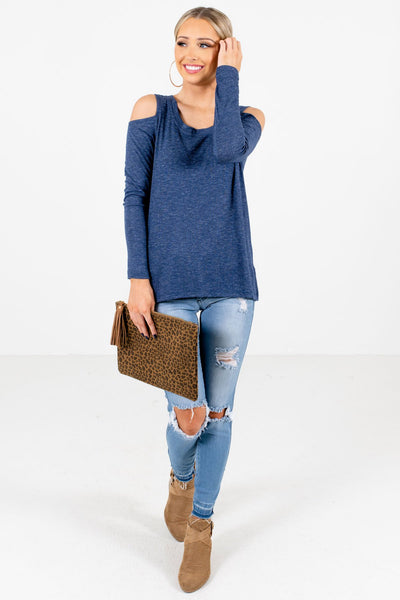 Women's Blue Casual Everyday Boutique Tops