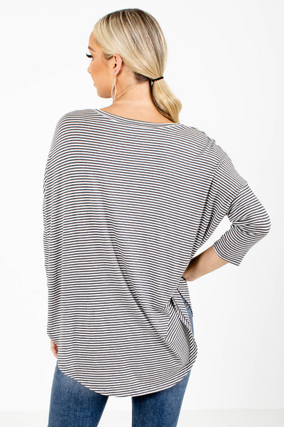 Women's Gray 3/4 Length Sleeve Boutique Top