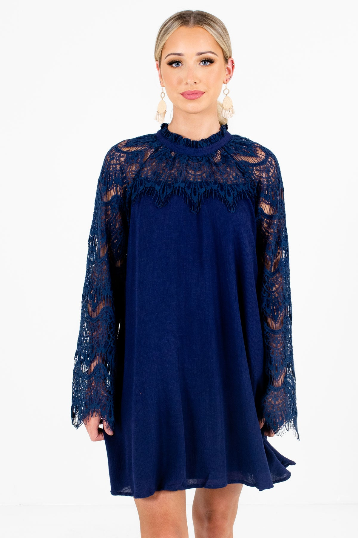 Blue High-Quality Lace Material Boutique Mini Dresses for Women