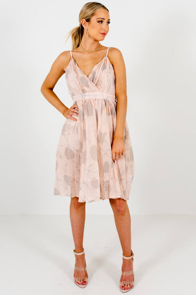 Blush Pink Gray Patterned Knee-Length Dresses Boutique