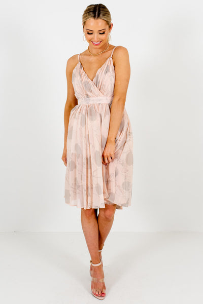 Blush Pink Gray Abstract Print Knee-Length Boutique Dresses