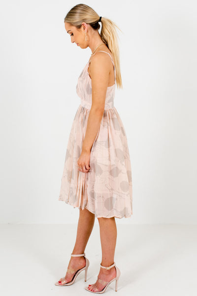 Blush Pink Gray Abstract Pattern Knee-Length Dress Boutique