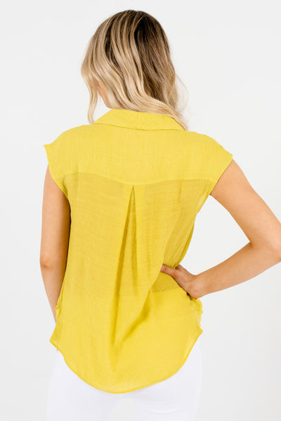 Lime Green Business Casual Front Knot Tops Affordable Online Boutique