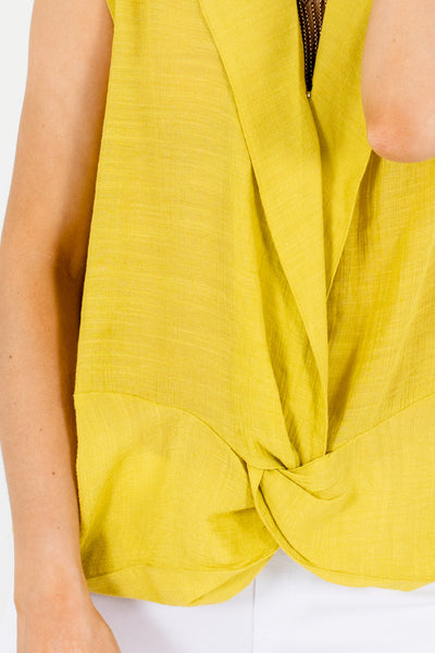 Chartreuse Lime Green Boutique Front Knot Tops and Blouses