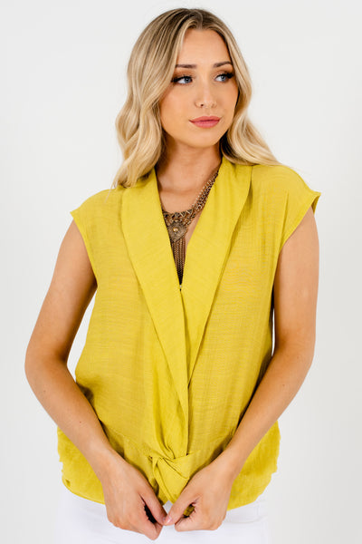 Chartreuse Green Infinity Knot Tops Affordable Online Boutique