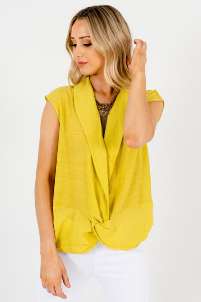 Chartreuse Green Infinity Knot Collar Neckline Boutique Tops