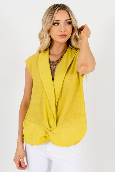 Chartreuse Green Boutique Infinity Knot Tops for Women