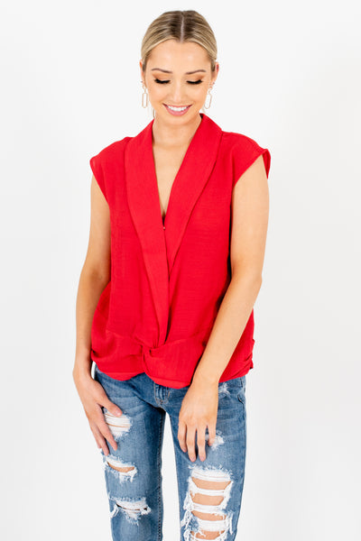 Red Infinity Knot Tank Sleeve Pleated Tops for Women