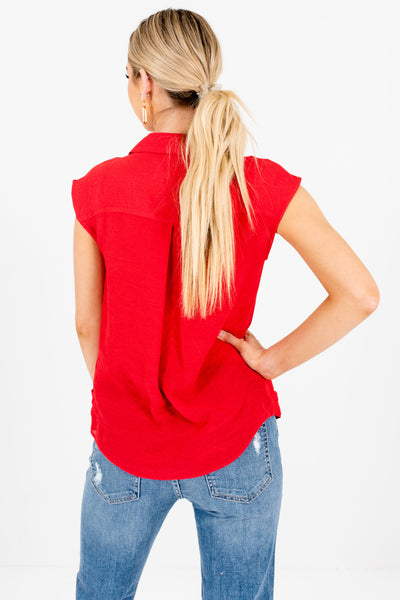 Red Pleated Collar Neckline Infinity Knot Tops Affordable Online Boutique