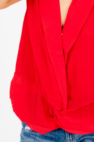Red Infinity Knot Pleated Collar Tops Affordable Online Boutique