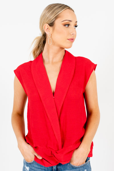 Red Infinity Knot Detail Pleated Blazer Collar Tops for Women