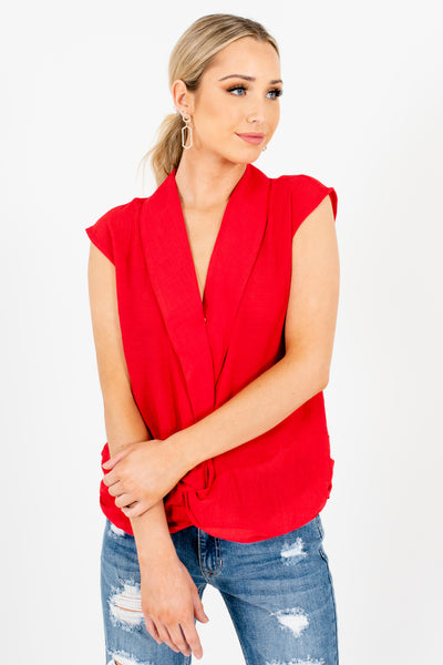 Red Infinity Knot Tops with Unique Collar Neckline and Pleated Details