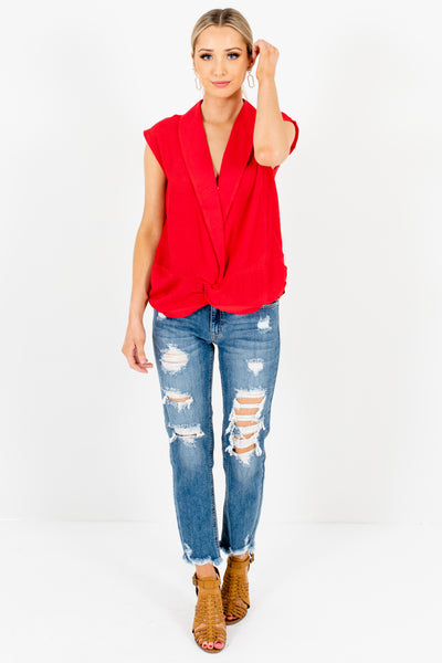 Red Pleated Collar Neckline Infinity Knot Tops for Women