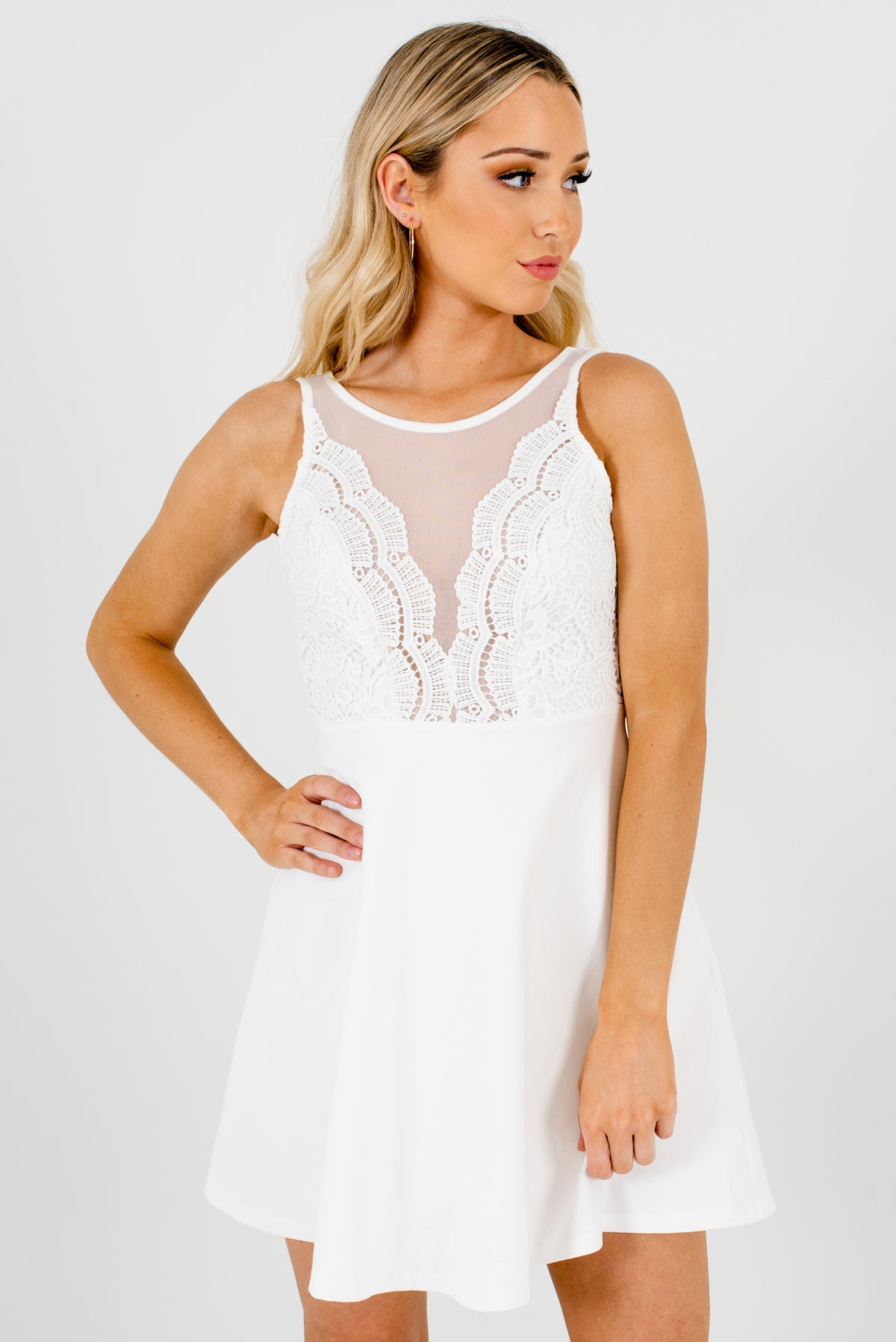 White Mesh Neckline Detailed Boutique Mini Dresses for Women