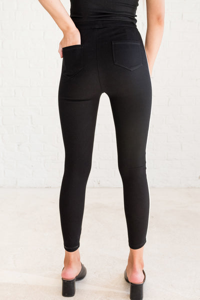 Black Jeggings with Pockets for Women