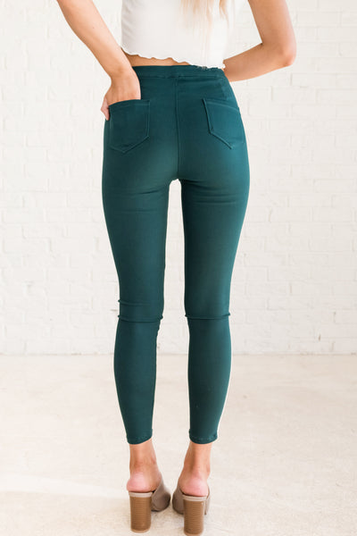 Teal Green Women's Jeggings with Pockets