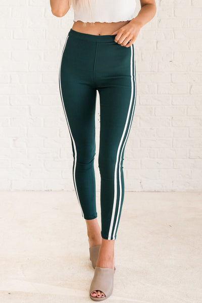 Teal Green Color Block Athletic Stripe Skinny Jeggings for Women