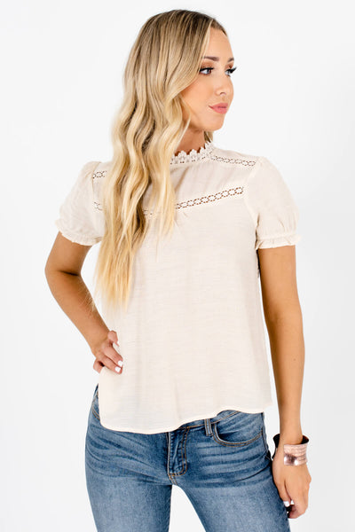 Beige Cute and Comfortable Boutique Blouses for Women