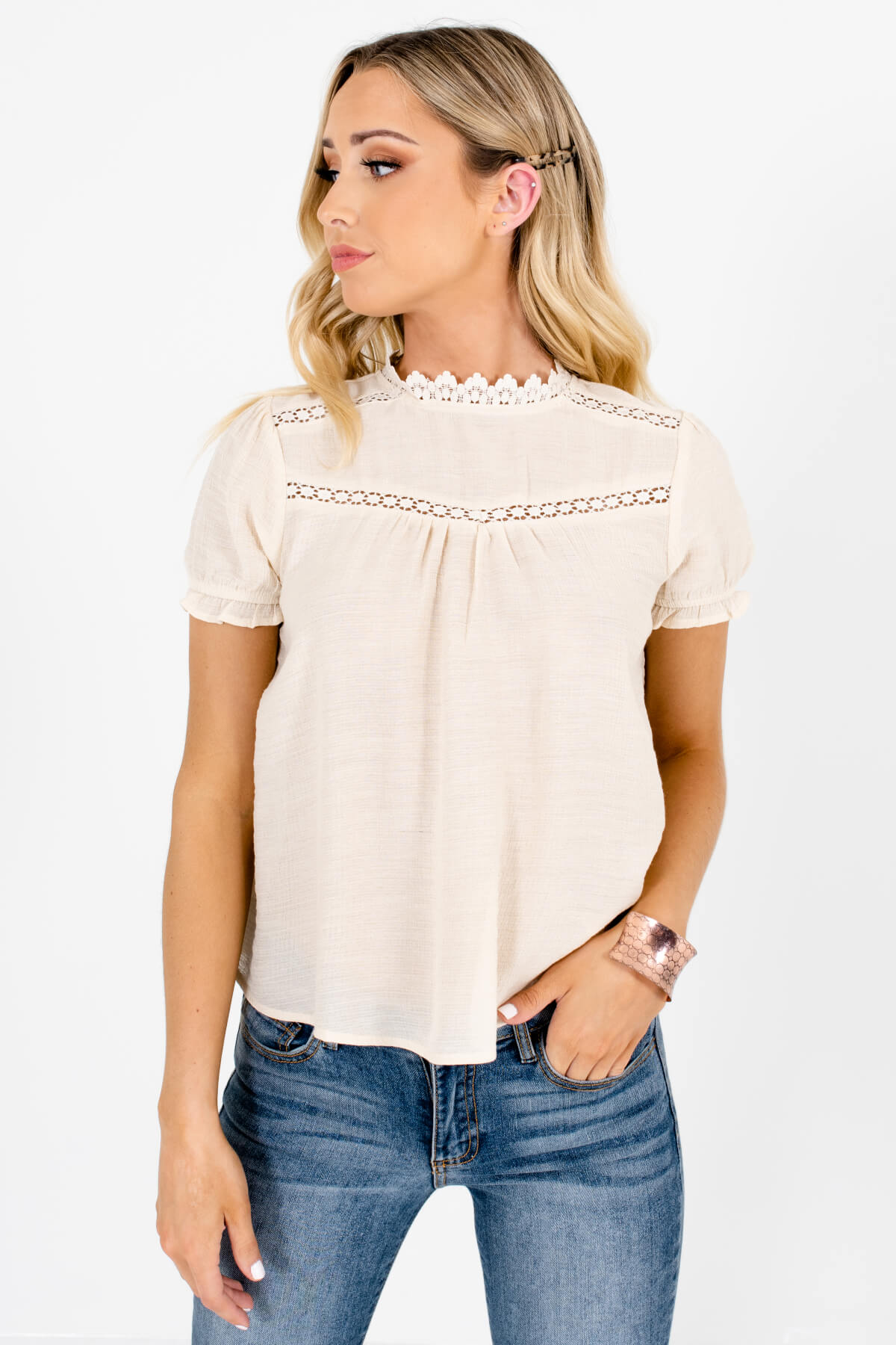 Beige Crochet Accented Boutique Blouses for Women