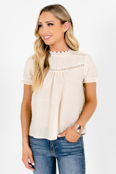 Beige Elastic Ruffle Sleeve Boutique Blouses for Women