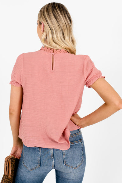 Women's Pink Keyhole Back Boutique Tops