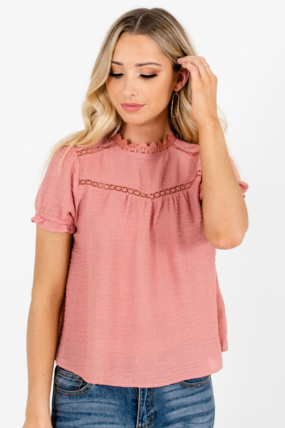 Pink High-Round Neckline Boutique Blouses for Women
