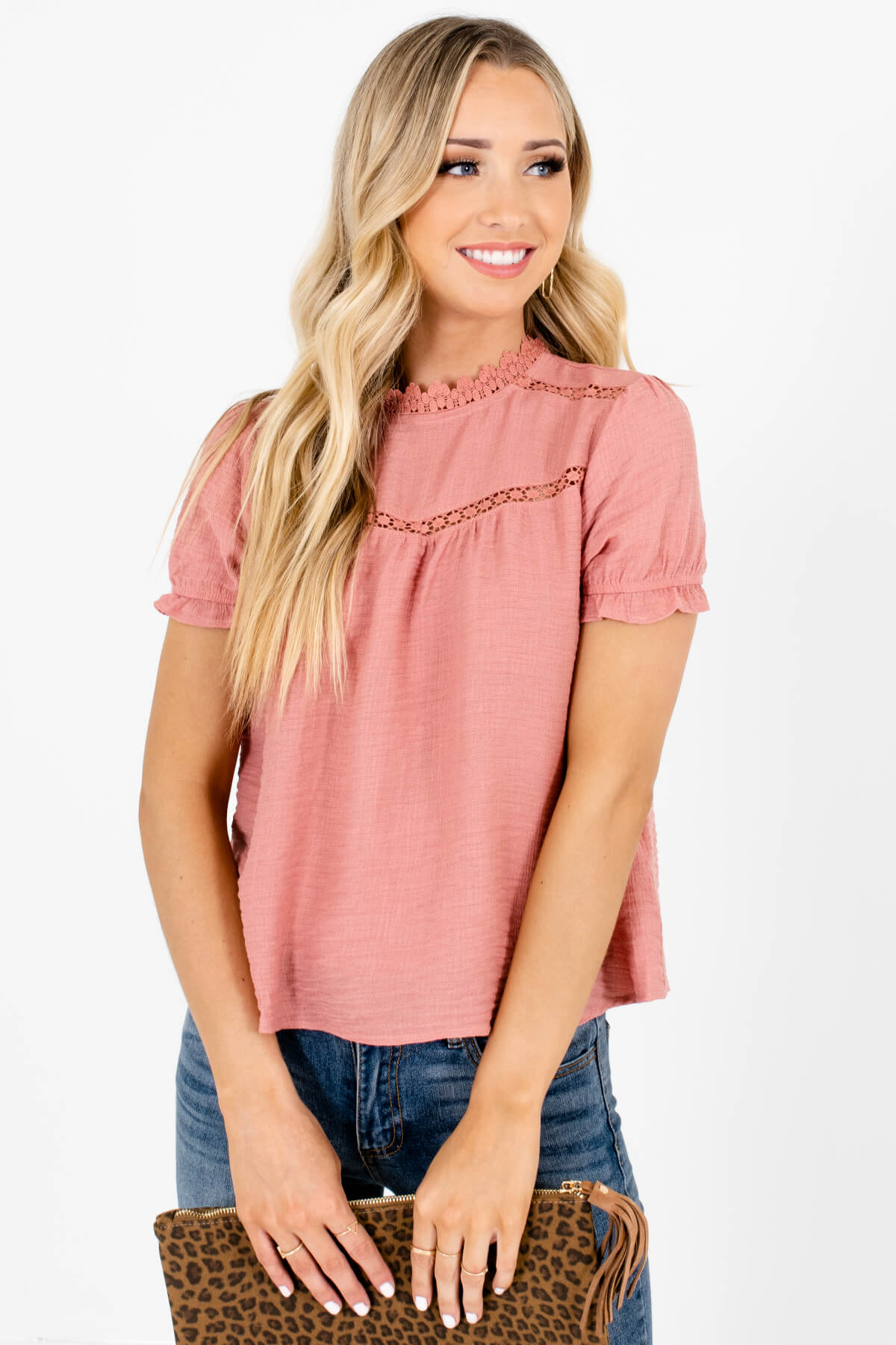 Pink Crochet Accented Boutique Blouses for Women