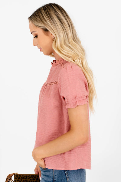 Women's Pink Elastic Ruffle Sleeve Boutique Blouse