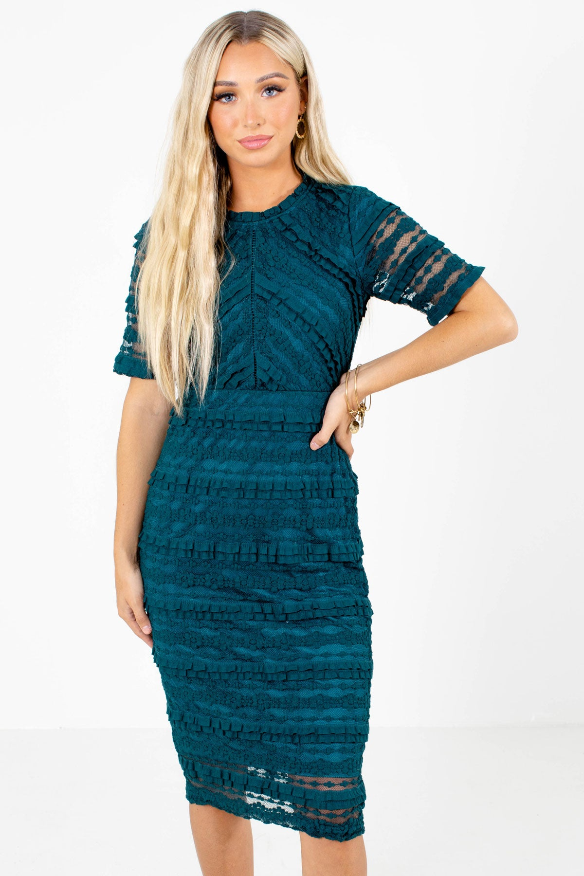 Teal Knee-Length Boutique Dresses for Women